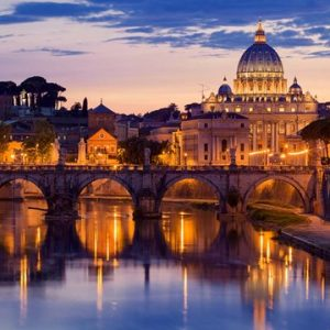 Night View at St. Peter's Cathedral, Rome