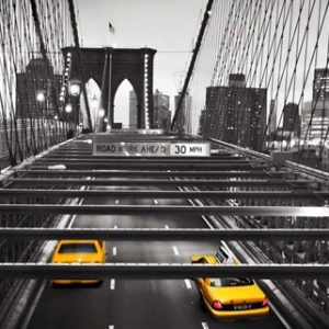 Taxi on Brooklyn Bridge, NYC