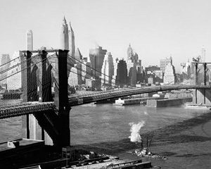 Brooklyn Bridge with Manhattan skyline, 1930s (detail)