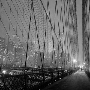 On Brooklyn Bridge by Night, NYC