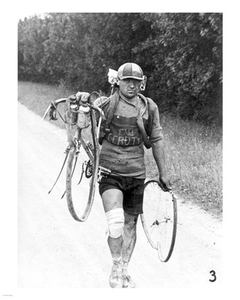 Italian Giusto Cerutti has a broken wheel after a fall. Tour de France 1928