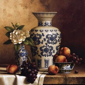 Blue and White Oriental Still Life with Peaches and Grapes