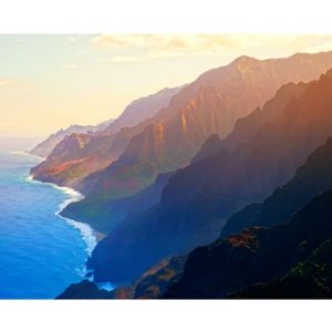 Mountain range at sunrise, Na Pali Coast, Kauai, Hawaii, USA