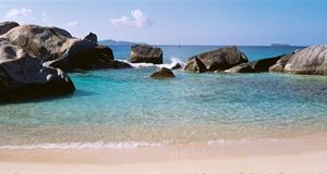 British Virgin Islands, Virgin Gorda, The Baths, Rock formation in the sea