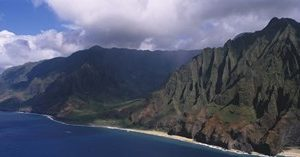 Aerial view of the coast, Na Pali Coast, Kauai, Hawaii, USA