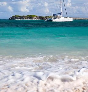 Catamaran off Orient Beach, St Maarten, West Indies
