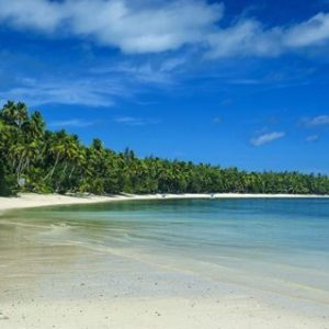 White sand beach and water at the Nanuya Lailai island, the blue lagoon, Yasawa, Fiji, South Pacific