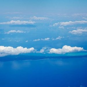 Vatulele Island and clouds, Fiji