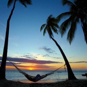 Hammock between palm trees in tropical beach art.