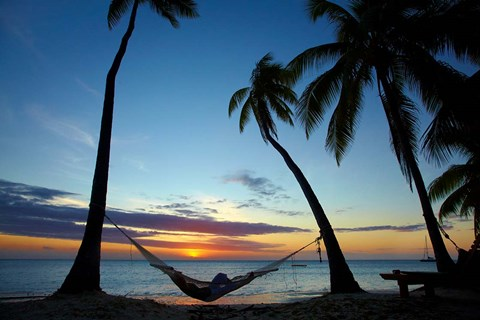 Hammock and sunset, Plantation Island Resort, Malolo Lailai Island, Mamanuca Islands, Fiji