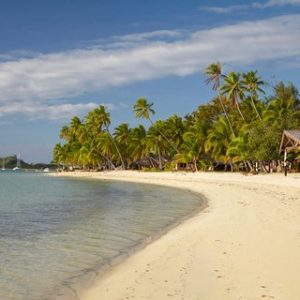 Beach and palm trees,  Malolo Lailai Island, Mamanuca Islands, Fiji