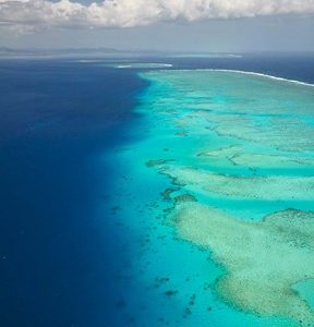 Ariel View of Malolo Barrier Reef and Malolo Island, Fiji