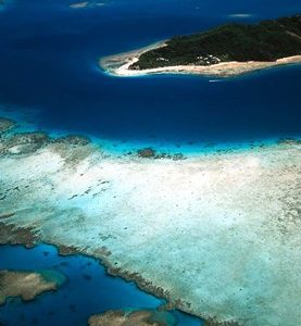 Aerial of Castaway Island, Mamanuca Islands, Fiji