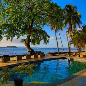 Pool side at Garden Island Resort, Taveuni, Fiji