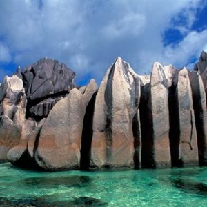 Unique Rock Formations on Shore of Curieuse Island, Seychelles