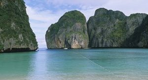 Rock formations in the ocean, Mahya Beach, Ko Phi Phi Lee, Phi Phi Islands, Thailand
