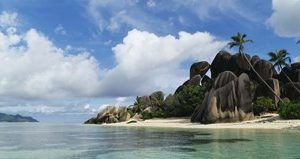 Rock Formations on Anse Source D'argent Beach, La Digue Island, Seychelles