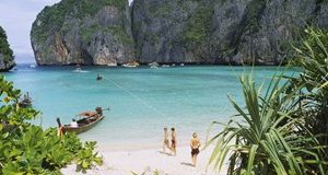 High angle view of tourists on the beach, Mahya Beach, Ko Phi Phi Lee, Phi Phi Islands, Thailand
