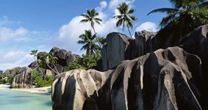 Rock formations on the beach, Anse Source D'argent Beach, La Digue Island, Seychelles