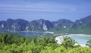 Thailand, Phi Phi Islands, Mountain range and trees in the island