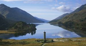 High angle view of a monument near a lake, Glenfinnan Monument, Loch Shiel, Highlands Region, Scotland